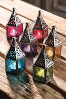 Fair Trade Moroccan Style Iron Emboss Glass Tea Light Holder Lantern Home Garden