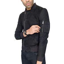 All Saints Ante Bomber Jacket 'media luna' Cuero Negro MA-1 Skinny Hombres Abrigo XS