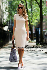 Authentic!!! Size XS - ZARA SHIFT DRESS BODYCON STRETCH TUBE NUDE BEIGE DRESS