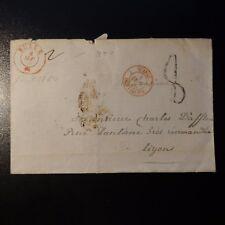 SUISSE LETTRE COVER CAD BULLE 1850 + SUISSE FRONTALIER LE TOUT EN ROUGE -> LYON