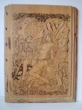 """Nude Fairy Drawn on Reclaimed Wood 10"""" x 13"""" x 1"""" Naked Naughty Fairie Art"""