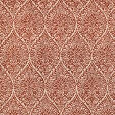 Rusty Red Beige Medallion Chenille Upholstery Fabric / Chili Rmil15