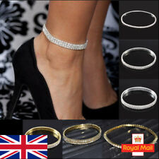 Stretch Crystal Anklet 1/2/3 Row Chain Bracelet Beach Holiday Diamond Simulated