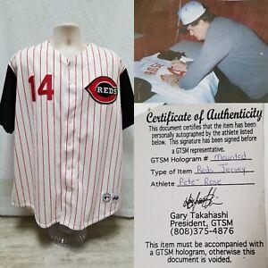 PETE ROSE Signed Cincinnati Reds Majestic Baseball Jersey - COA GTSM