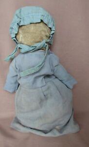 "Antique 13"" Cloth Faceless Amish Rag Doll Original Clothes"