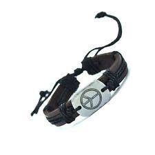 Leather Bracelet Peace - Bracciale cuoio unisex targhetta metallica - pace #BU3