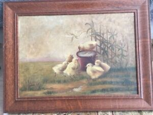 1800's Primitive Antique Oil Painting on Canvas Chickens, Farm Scene - Folk Art