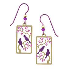 Sienna Sky Purple Birds in a Cherry Tree Pierced Earrings ~Handcrafted in USA~
