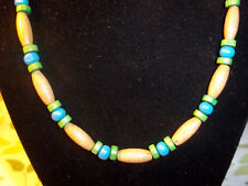 Handmade 19 inch GREEN and BLUE Wood Bead NECKLACE CHOKER C-73