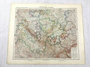 1907 Antique Map of Central Germany Thuringia Gotha Rudolstadt German Bundesland