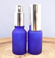 1oz FROSTED Cobalt Blue Glass Bottles with Silver spray caps - Pack of 24, New