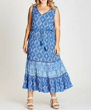 STUNNING BLUE PAISLEY  MAXI DRESS Size 22 FREE POST (AUTOGRAPH) RRP $100