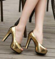 Plus Size Women High Heels Peep Toe Pumps Platform Shiny Dating Prom Court Shoes
