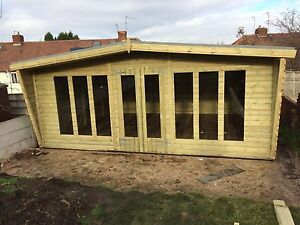 20FT X14FT DELUXE WOODEN SUMMER HOUSE TONGUE & GROOVE GABLED SHED WITH 2' CANOPY