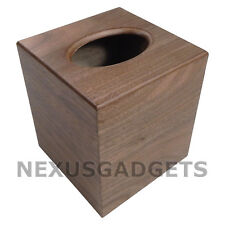 Nomi TISSUE BOX COVER Walnut Wood Holder, Facial Boutique Classy Bedroom Decor