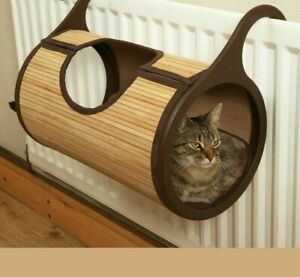 Natural Bamboo Radiator Cat Bed Home Tent Cat Tunnel Toys Hanging Wall Cat House
