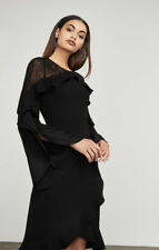 $338New Women's BCBG Delaney Lace-Inset Dress SZ 2 long-sleeve, open-back sheat