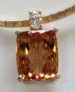 MAGNIFICENT 10.9ct GEM TANGERINE GOLD IMPERIAL TOPAZ PENDANT CHAIN NOT INCLUDED