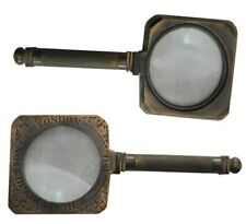 magnify glass SQUARE FLEXIBLE BRASS MAGNIFYING GLASS  REPLICA