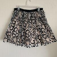 Blondie Nites Womens Black Flocked Mesh Velvet Mini Skirt Juniors 13
