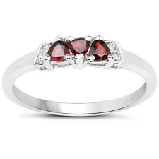 Sterling Silver Garnet & Diamond  Engagement Ring Size HIJKLMNOPQRSTUV