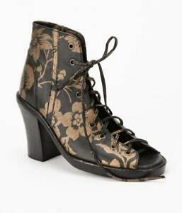 Brand New With Tags   SHAKUHACHI   Brocade Floral  Lace Up Bootie  -  Size  40