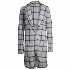 Womens Ladies Front Long Boyfriend Tartan Long Sleeves Coat Button Jacket Blazer