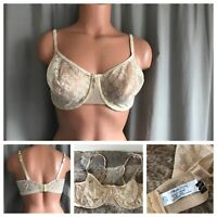 80s Playtex NOW Bra 40D Beige Sheer Floral Nylon Spandex Underwire Full Coverage