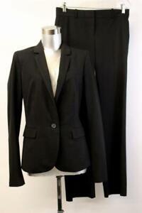 ANN TAYLOR PANT SUIT Black Blazer Jacket 2PC Business Career Modern S 4 TALL