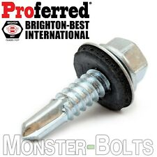 #10 HWH w Bonded EPDM Washer, Zinc #3 Point Self Drilling / Tek Roofing Screws