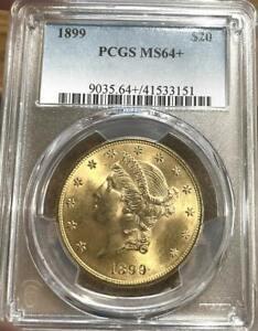 1899 $20 Gold Liberty Head Double Eagle - PCGS MS 64+
