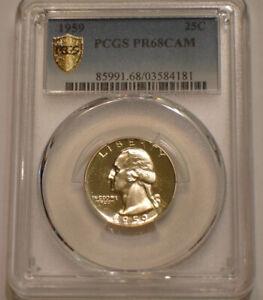 1959 Washington Quarter PCGS PR 68 CAM super Gem CAMEO Gold Shield Holder
