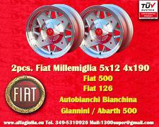 2 Cerchi Fiat Cinquecento Abarth 500 126 5x12 4x190 Wheels felgen jantes llantas