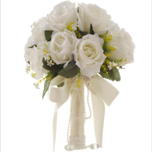 Wedding Crystal Bouquet Bridal Bridesmaid Artificial Foam Fake Rose Silk Flower