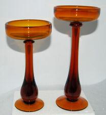 2 Amber Glass Taste of Home Entertaining Pedestal Pillar Floating Candle Holder