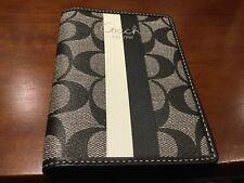 NEW Coach Black/White Leather Heritage Stripe Passport Case/Holder/Wallet
