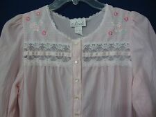 Vintage Nicole Women's M Flannel Nightgown Pajamas Pink Striped Lace Embroidered