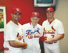 Stan Musial / Albert Pujols / Matt Holliday signed baseball 8x10 auto (STM COA)