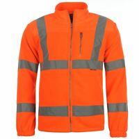Dunlop Mens Hi Vis Fleece Jacket Workwear Coat Top Zip Warm Chest Pocket