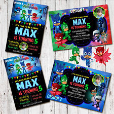 Personalised PJ MASK Birthday Invitations Invites Party Photo Superhero
