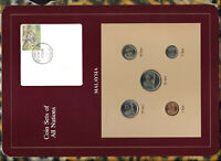 Coin Sets of All Nations Malaysia w/card 1981-1984 UNC 50 Sen 1983 20,5 Sen 1982
