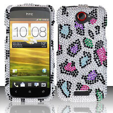 T-Mobile HTC ONE S Crystal Diamond BLING Hard Case Phone Cover Rainbow Leopard
