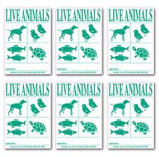 IATA Live Animal SPECIES Labels 6pk of Stickers