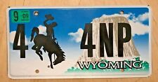 "WYOMING LOW NUMBER TRUCK LICENSE PLATE "" 4  4 NP "" WY BUCKING BRONCO DEVILS TOWR"