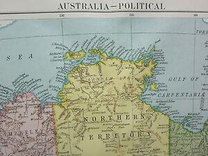 1919 Grande Mappa Australia Nuovo Sud Galles Victoria Queensland Tasmanoa