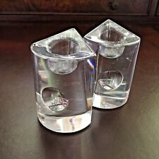 Clear Glass Candlestick Holders Heavy Set of 2