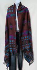 Yak Wool Blend Shawl/Throw Handloomed Nepal Reversible Brn/Black/Orchid/Blue/Tqb