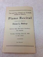Vintage PIANO RECITAL PROGRAM Students Of Eloise L. Bishop, 1933, Los Angeles CA