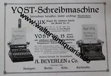 Yost Schreibmaschine Beyerlein & Co. Große Werbeanzeige anno 1910 Reklame