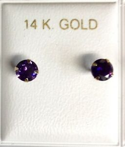 New 14k Gold Birthstone (February) 1/2 ct. Stud Earrings